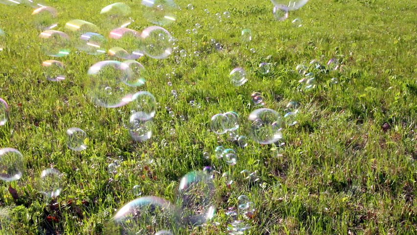 soap bubbles flying over green meadow