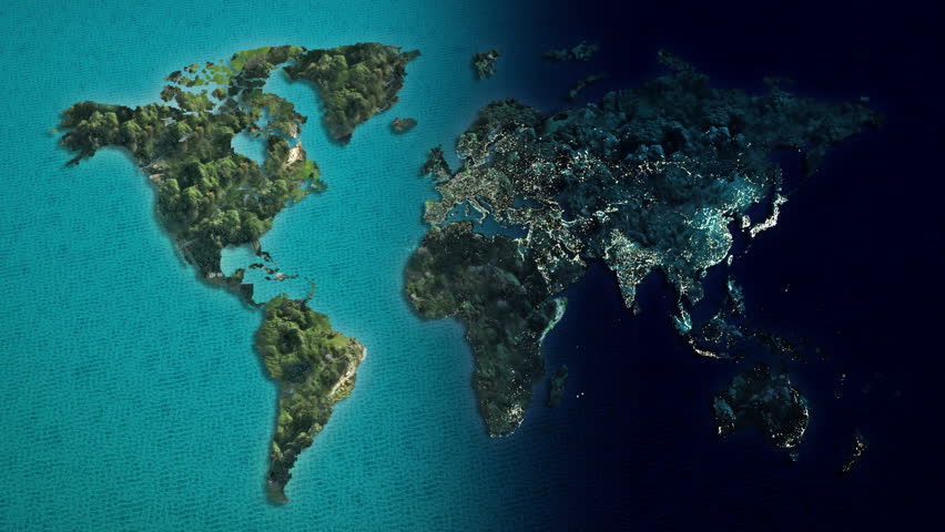 Global World Map Animation Separate Stock Footage Video (100 ...