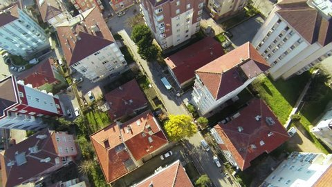 Residential housing community. Aerial. Flyover shot over suburbs of Istanbul from the quad drone.