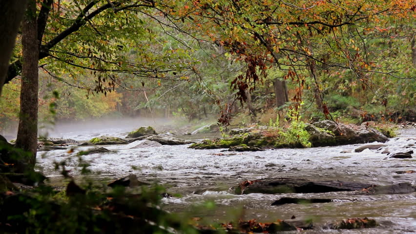 A foggy winding rocking river in the Appalachian mountains in the fall