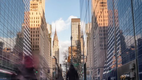 Chrysler Building Timelapse 24 Hour Day to Night Seamless Loop in Midtown Manhattan in New York City - Time-Lapse of NYC USA