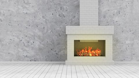 4k Seamless Looping Animation of Burning Fireplace. Modern Empty 3D Interior with Fireplace. Full Ultra HD 4096x2304 Video Clip