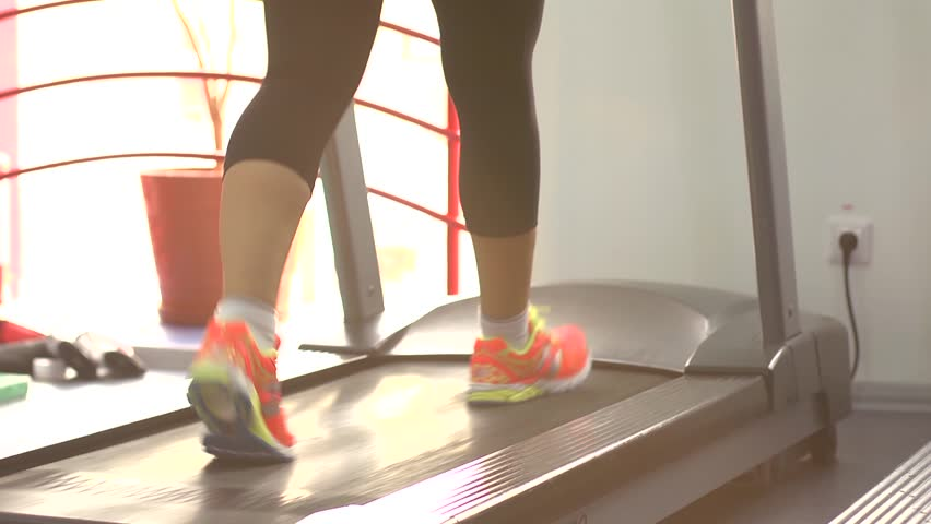 Sport woman legs on treadmill in gym | Shutterstock HD Video #7626235