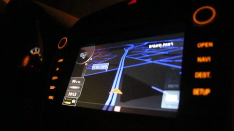TEL-AVIV, ISRAEL - SEPTEMBER 10:Car GPS navigation system with map  10, 2014 in Tel-Aviv, Israel