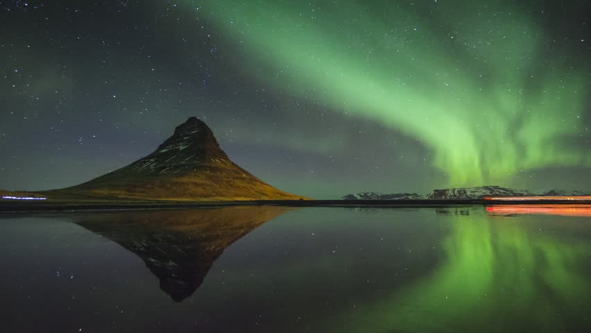 HD timelapse video of the Northern lights at Kirkjufell mountain and lake, Iceland | Shutterstock HD Video #7648045