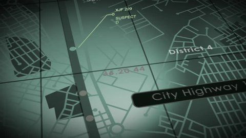 GPS Tracking. An electronic tracking or tracing visual ideal for traffic, espionage, and police themed productions.