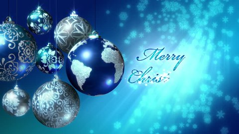 """Loop of Merry Christmas in 5 languages with the world as an Xmas ball. The text """"Merry Christmas"""" appears in English, Spanish, Italian, French and German. In 4K Ultra HD, HD 1080p and smaller sizes."""