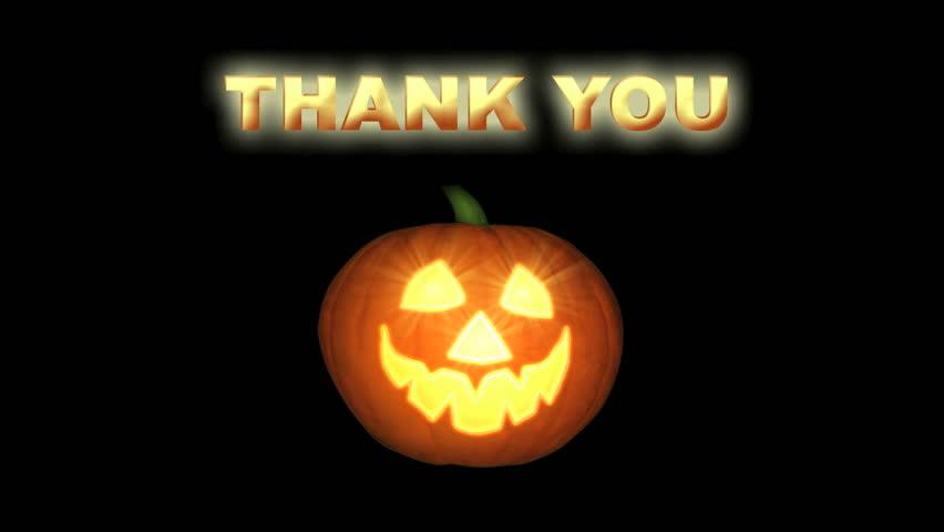 Smiling Jack-o-lantern Thanking You, Looping Animation. Thank You ...