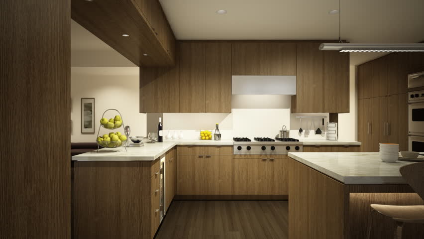3d animation of kitchen and livingroom furnishing process