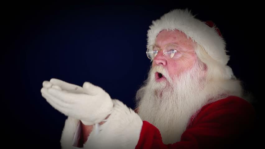 Stock video clip of digital animation of santa blowing glitter hd0011digital animation of santa blowing glitter forming christmas greeting m4hsunfo