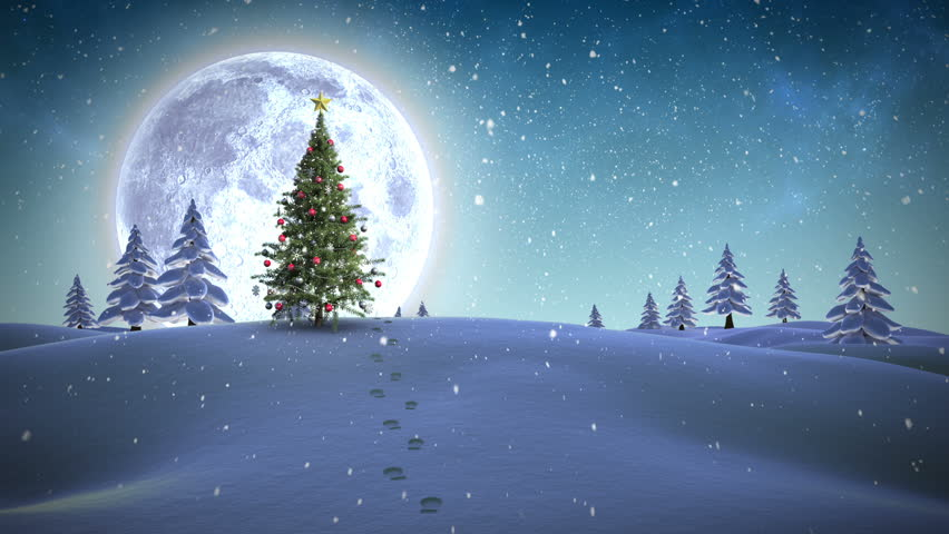 Digital animation of Christmas message appearing in snowy landscape | Shutterstock HD Video #7743247