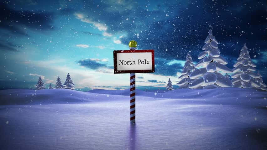 digital animation of santa standing at the north pole hd stock video clip - Santa At The North Pole