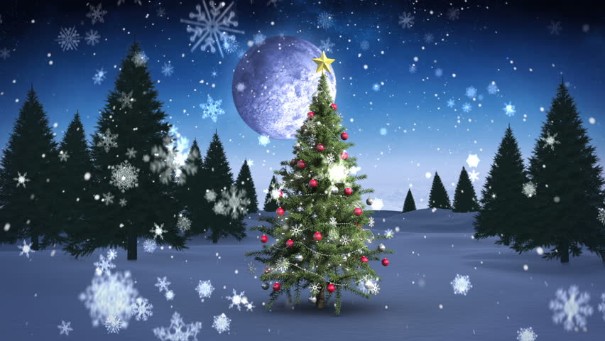 Digital animation of Santa and his sleigh flying over snowy christmas tree  looping - HD stock