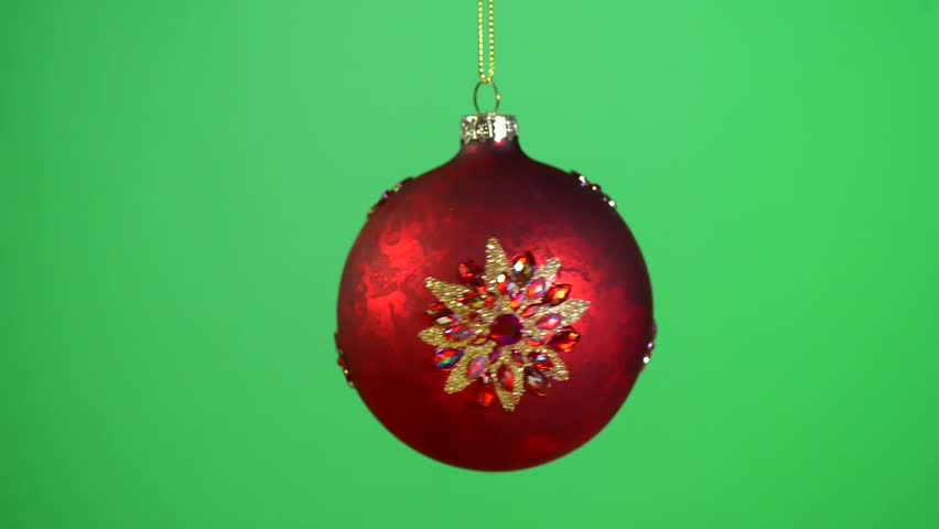 Red And Gold Christmas Baubles Rotating Each On Its Own