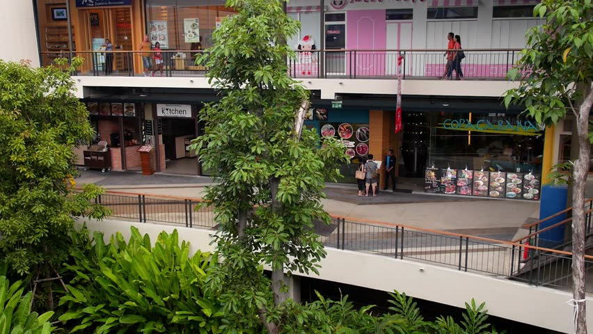 Koh Samui, Thailand, October 2014.Shoppers Walking through the Shopping Centre. Rainy Weather on Tropical Island. Koh Samui, Thailand. HD, 1920x1080. | Shutterstock HD Video #7767055