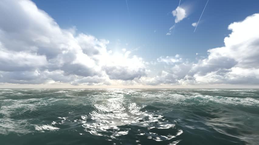The flight towards the sun over the raging ocean, 3d render