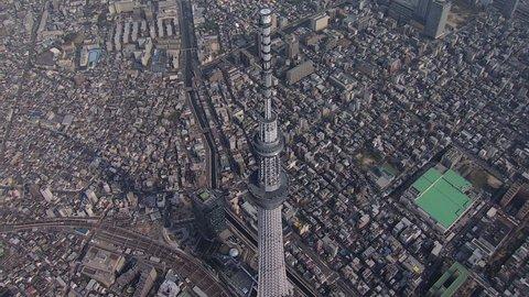 Aerial Metropolis view Skytree broadcasting observation Tower Sumida River Sumida district Tokyo Japan