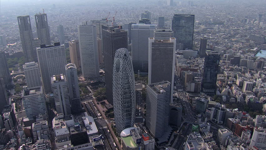 Aerial view Tokyo city Skyscrapers Cocoon Tower Metropolitan Government Building Business district Shinjuku Japan East Asia