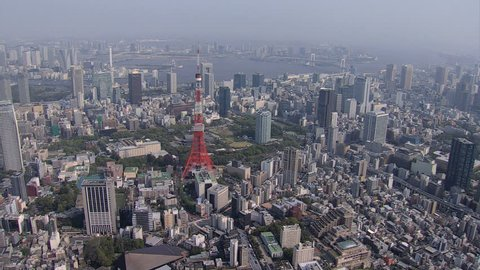 Aerial Bay view Tokyo Tower city media skyline built structures communications and observation Tower Minato Japan Asia