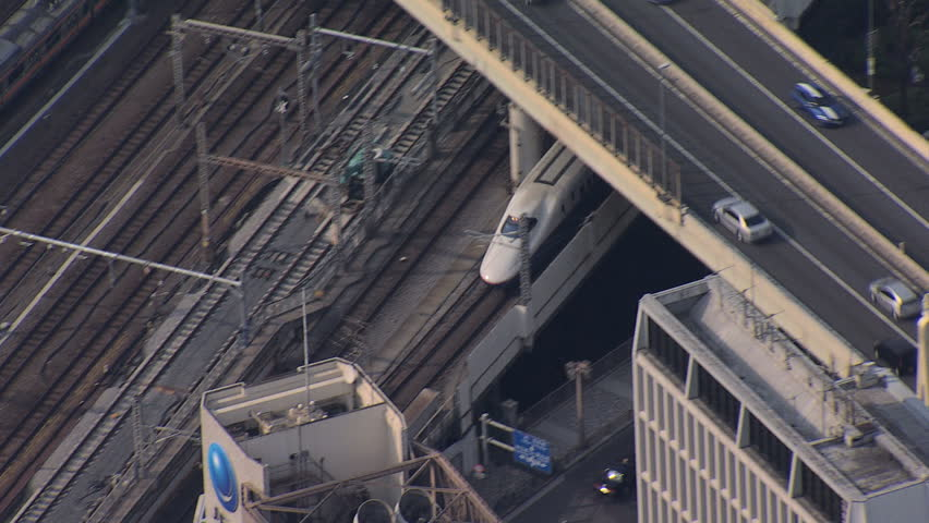 Aerial Shinkansen high speed Bullet trains TGV Tokyo Rail travel Japanese National Railway Asia
