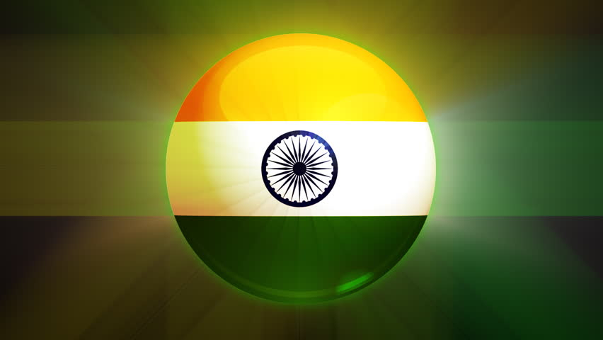 Flower With Indian Flag Hd: India National Flag 5 Second Loop(Alpha Channel) Stock