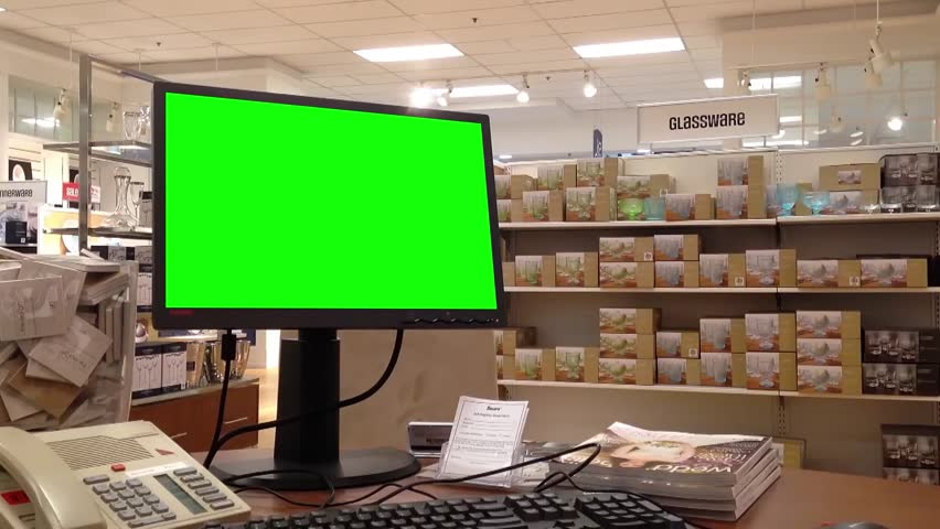 Coquitlam, BC, Canada - September 09, 2014 : Green screen at computer inside Sears store in Coquitlam BC Canada. | Shutterstock HD Video #7830745