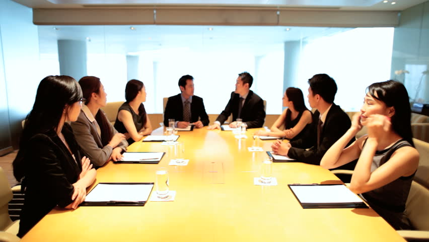 Confident Asian Chinese male female business finance team city boardroom future planning proposals video conference uplink | Shutterstock HD Video #7852945
