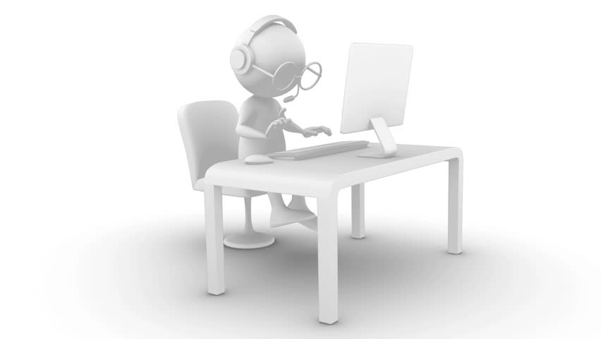 3D White Character Typing På Stock Footage Video 100 Royalty-Free 7883635-9128