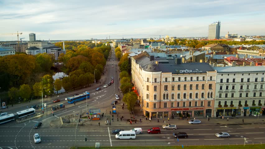RIGA - OCT 30: Timelapse view of the riga Old town area  in Autumn, Riga is the capital and largest city in Latvia on 30 October 2014 in Riga, Latvia | Shutterstock HD Video #7924315