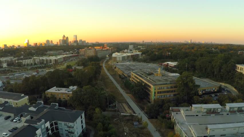 Atlanta city aerial flying over the Beltline during sunset. | Shutterstock HD Video #7930525