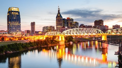 Nashville, Tennessee, USA downtown cityscape on the Cumberland River.