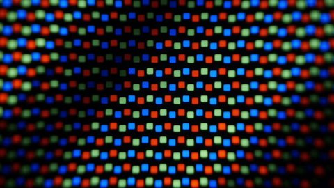 Working LCD matrix. View of the pixels operate matrix. Sequence. Macro