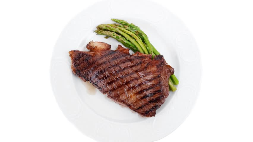 Meat Table Grilled Beef Fillet With Asparagus Served Plate 1080p 1920x1080 Intro Motion Slow Hidef