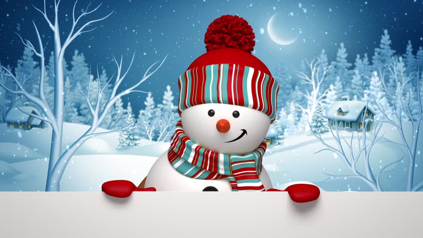 Christmas 3d snowman, animated greeting card, winter landscape, holiday background