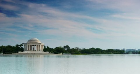 Jefferson Memorial 4K from Across Tidal Basin Washington DC with Clouds & more Blue Sky