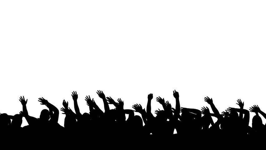 Crowd Of Cheering Silhouettes Isolated Over White. Stock Footage ...