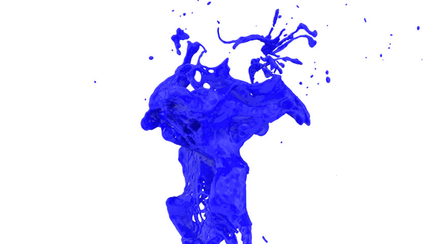 Abstract Blue Paint Splash In Super Slow Motion, Isolated On White ...
