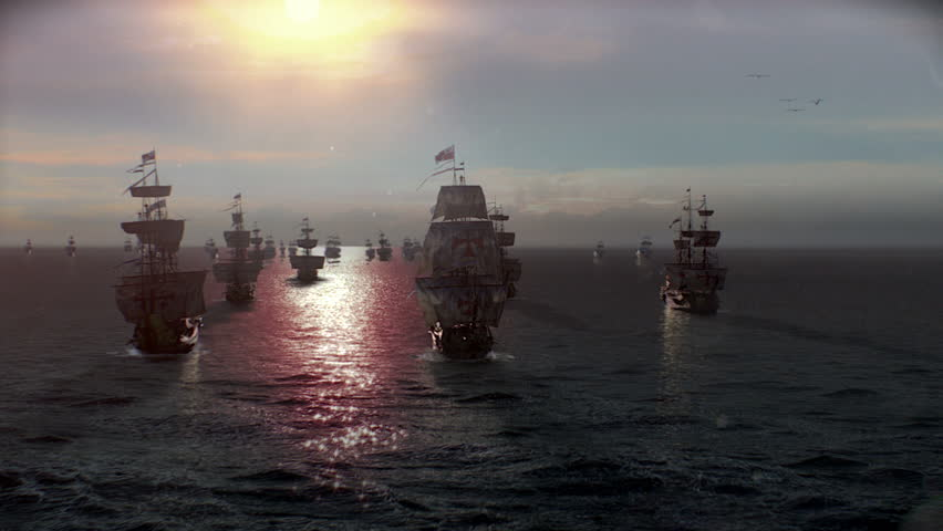 Spain Armada Ships in Sunset offshore to conquest, war or discovery