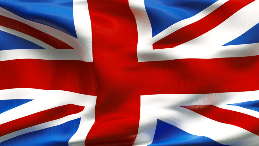 Textured GREAT BRITAIN  satin cotton flag with wrinkles and seams