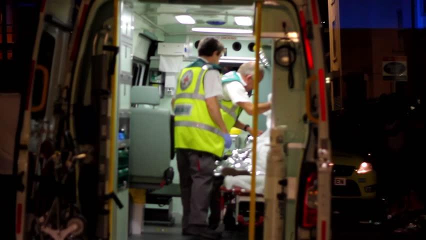 BRISTOL - July 6: Medic in Back of Ambulance at St Pauls Carnival - July 6 2013 in Bristol England
