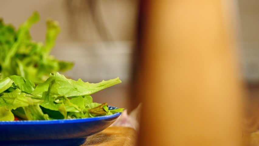 Preparing fresh leaf salad | Shutterstock HD Video #8019721