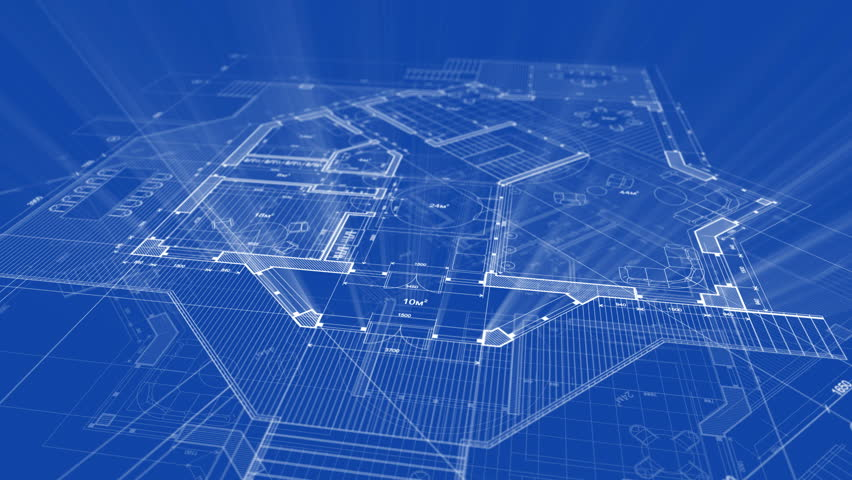 Stock Video Of Abstract Architecture Background: Blueprint House Plan |  803725 | Shutterstock