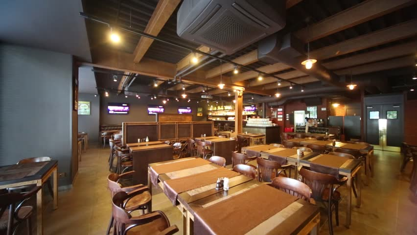 Room In Restaurant With Wooden Furniture And Walls Of Red Bricks.   HD  Stock Video