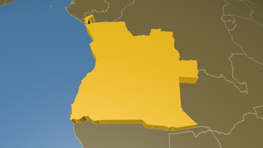Angola On The Satellite Map Outlined And Glowed Elements Of This