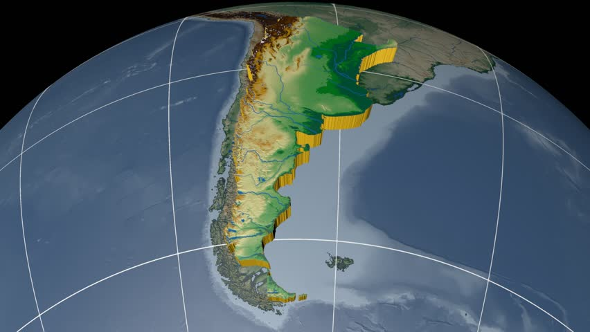 ARGENTINA Extruded On The World Map With Graticule Rivers And - Argentina map rivers