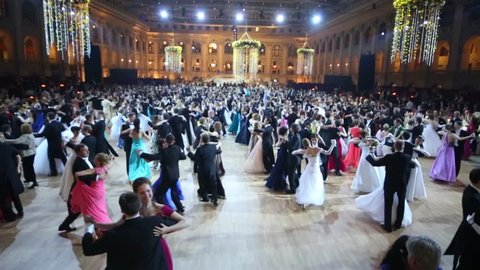 MOSCOW, RUSSIA - MAY 25, 2013: Above view of waltzing people at 11th Viennese Ball in Gostiny Dvor