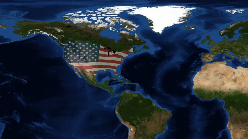 Usa Map And American Flag From E The United States Of America Commonly Referred To As The United States Footage Composite From Nasa Images