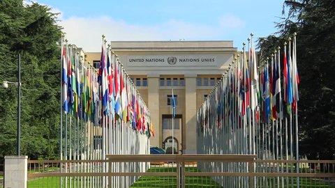GENEVA/SWITZERLAND, AUGUST 2014: UNO buildings in Geneva. Find similar in our portfolio.