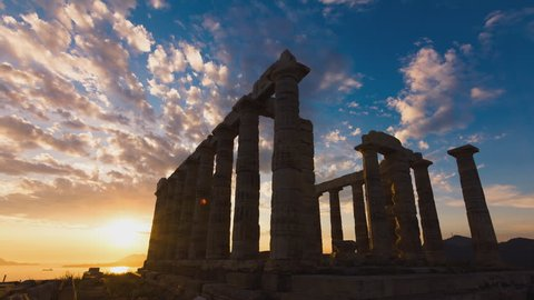 Sunset timelapse of the Ancient temple of Poseidon monument in Cape Sounio of Athens,Greece. Elements like birds,insects,planes,sensor dust, have been digitally removed, sequence has been deflickered.
