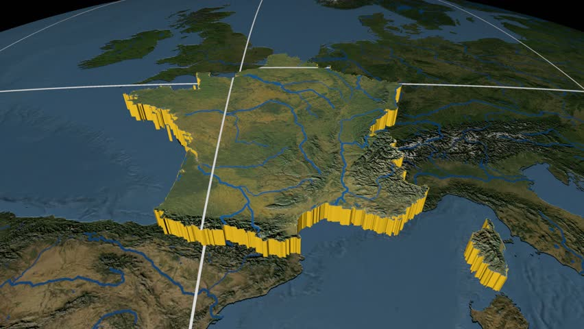 Sweden Extruded On The World Map With Graticule Rivers And Lakes - Sweden france map